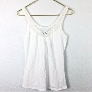 Topshop White Tank Lace Knit Pleats Stretchy Soft